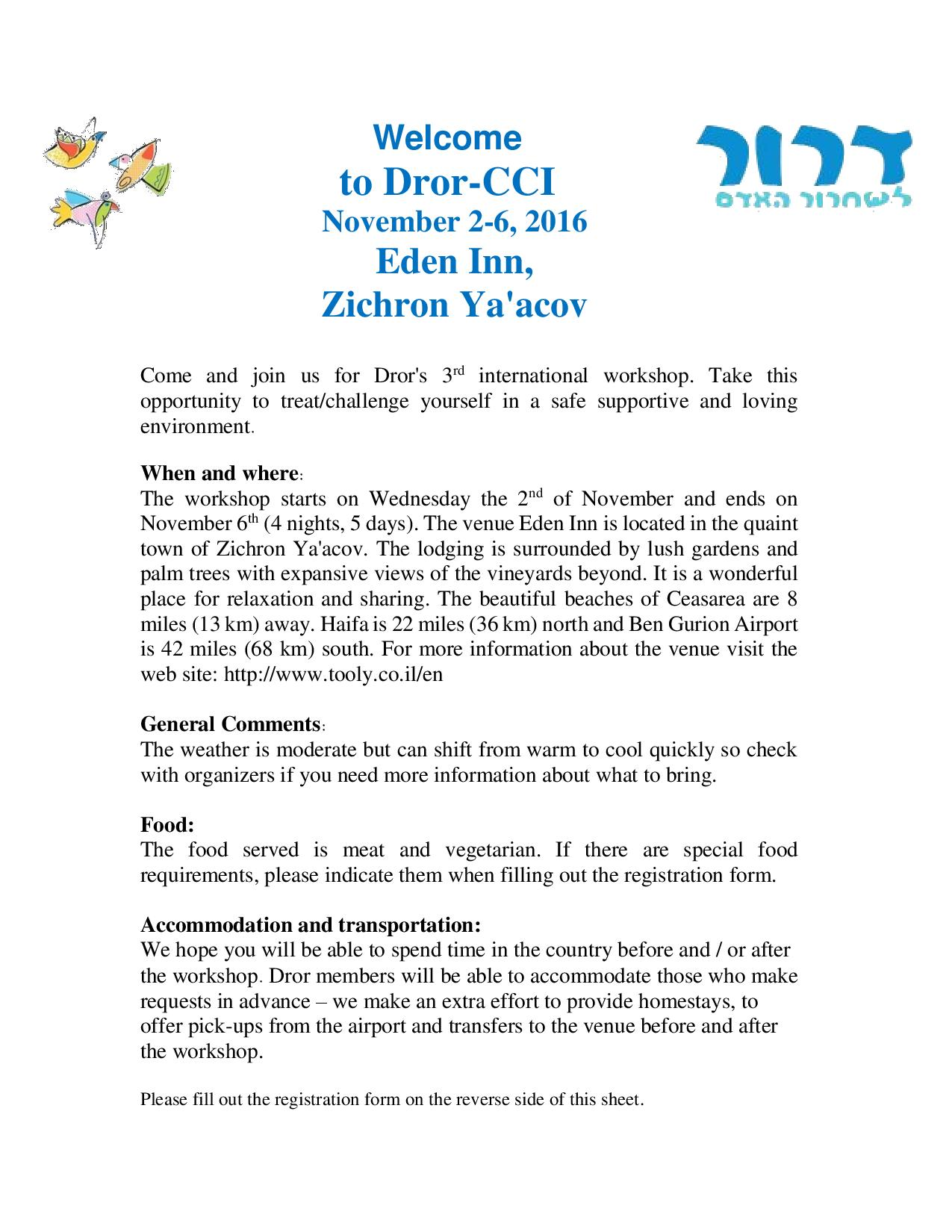 Come and join us for Dror CCI 2016